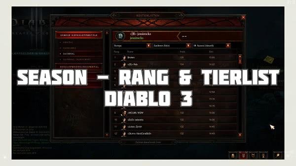 Rangliste und Tierlist für Diablo 3